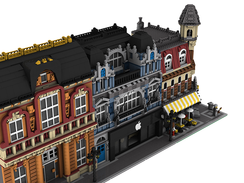 Moc Modular Apple Reseller With Apartment Lego Town