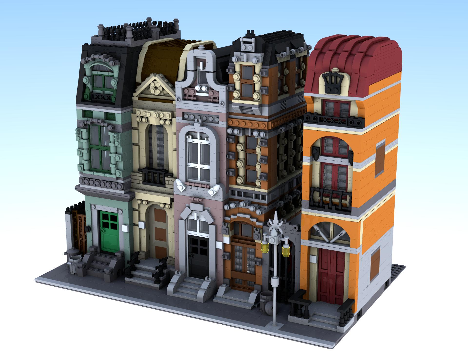 Moc Modular Brickstreet And Orange Building Lego Town