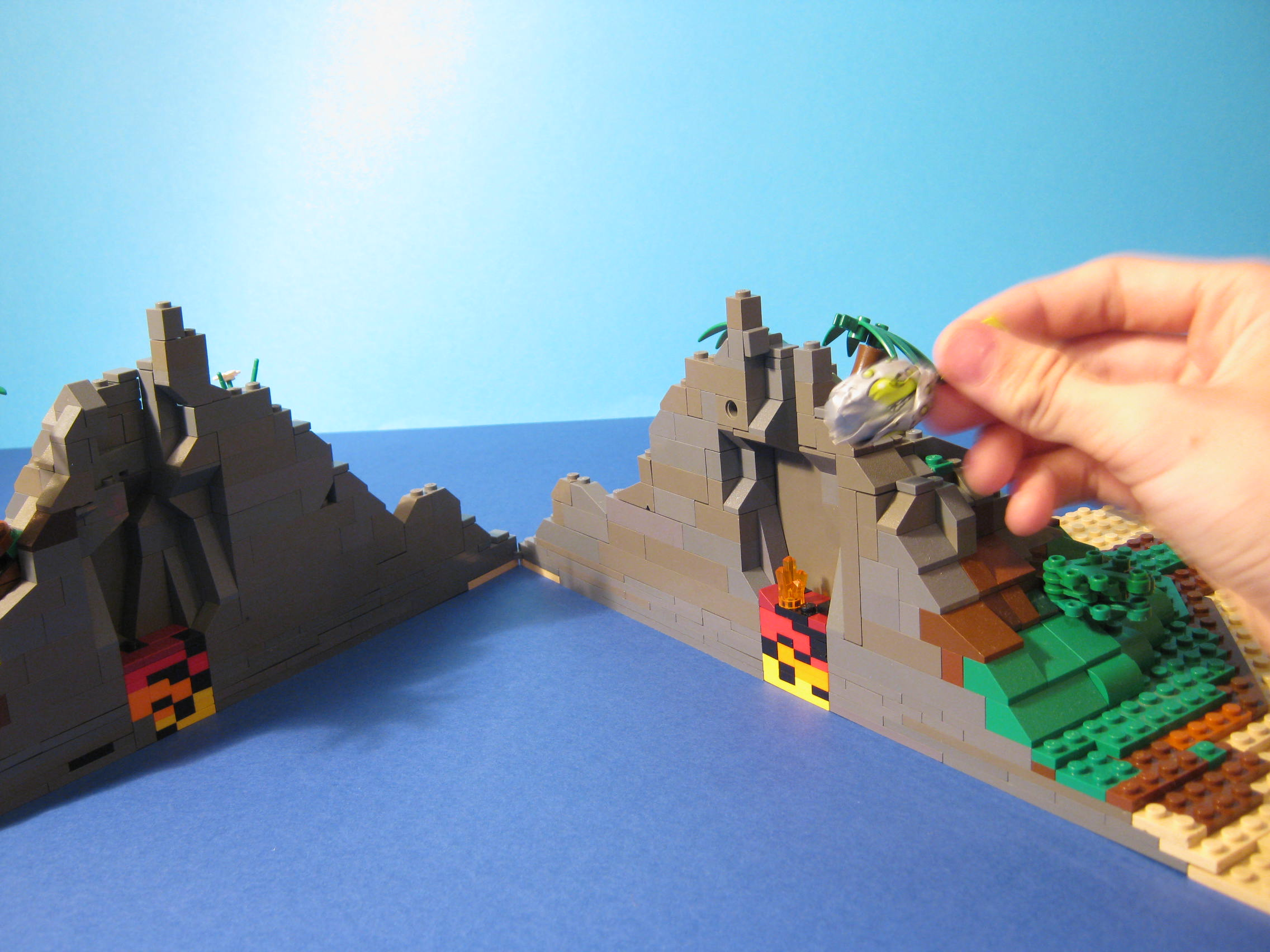 how to make a lego volcano
