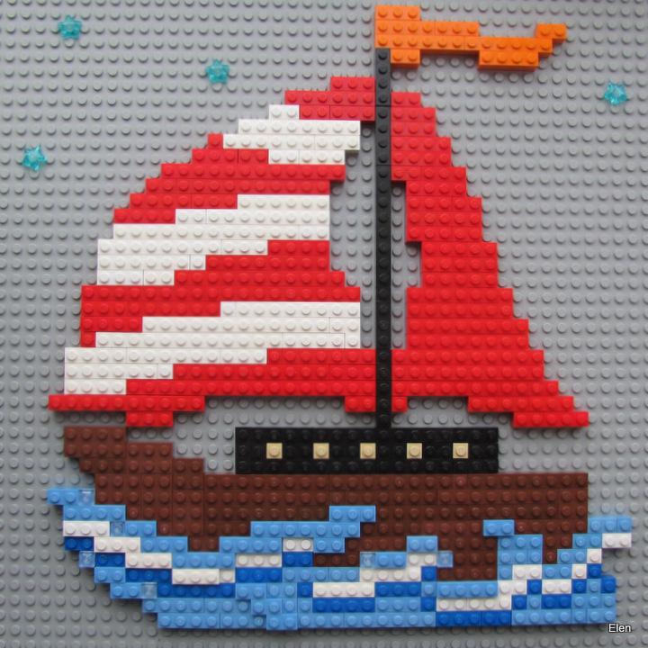 Как сделать из лего маленький кораблик