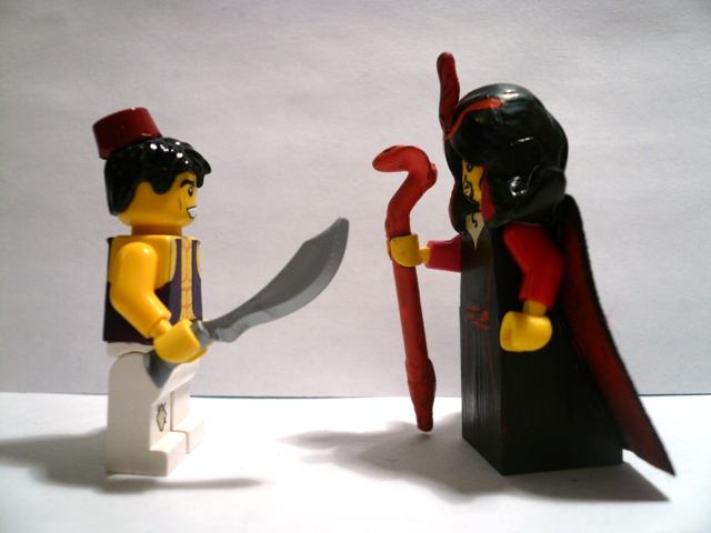 Lego Aladdin Jafar minifig battle over Agrabah