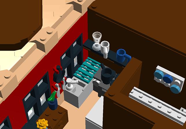 Corner Bakery Tiles : Moc modular bakery first floor wip lego town