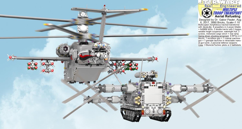 Multiple Troop Transport in mid-air refueling, rear view