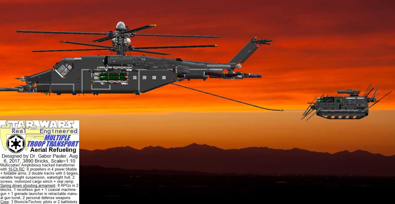 Multiple Troop Transport in night mid-air refueling