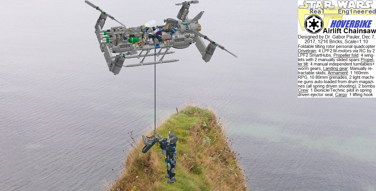 Hoverbike airlifts chainsaw to the cliff