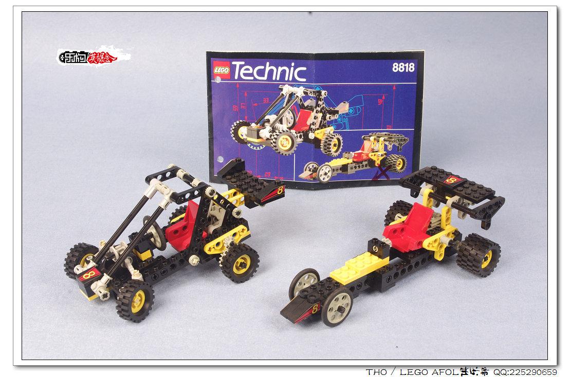 """编号:8818 名称:Dune Buggy 类别:Technic 年份:1993 PCS:120 首先还是感谢英雄会成员 8818,成色还是可以的,只是,卖家给了两个B模式,而主要的A模式的转向结构零件缺失,还好我之前有买过,所以才把A模式给搭了出来,就set本身来说,老式的转向系统对现在来说是一个亮点,仅此而已,丑陋的外观我就不多说了,本来拿来就是杀肉的。 好了,上照片,先上B款 [[img src=""""http://simg."""