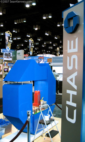 The 6-foot Chase logo LEGO scutlpure is almost complete.